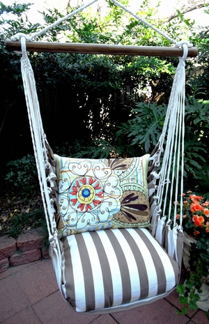Striped Chocolate Henna Art Hammock Chair Swing Set - Click to enlarge