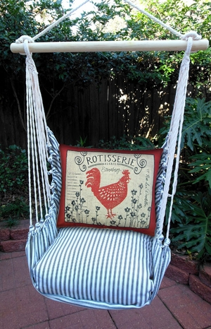 Ticking Black Rooster Rotisserie Hammock Chair Swing Set - Click to enlarge