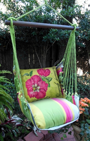 Fresh Lime Pink Hibiscus Hammock Chair Swing Set - Click to enlarge