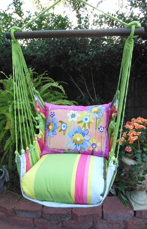 Fresh Lime Painterly Flowers Hammock Chair Swing Set - Click to enlarge
