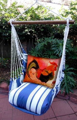 Marina Stripe Red Rooster Hammock Chair Swing Set - Click to enlarge
