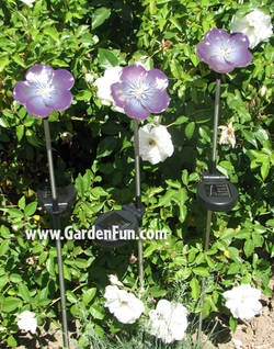 Solar Powered Garden Violets (Set of 3) - Click to enlarge