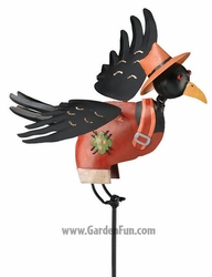 Crow Man Jiggle Wings Garden Stake - Click to enlarge