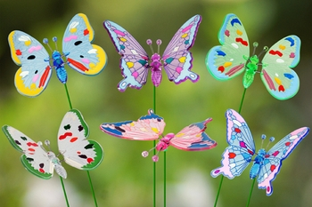 Colorful Butterfly Garden Stakes (Set of 6) - Click to enlarge