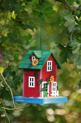 Red Garden Bird Feeder - Click to enlarge