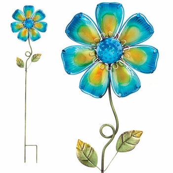 Blue Glass Flower Stake - Click to enlarge
