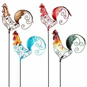 Filigree Rooster Garden Stakes (Set of 4) - Click to enlarge