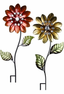 Large Metallic Flower Stakes (Set of 3) - Click to enlarge