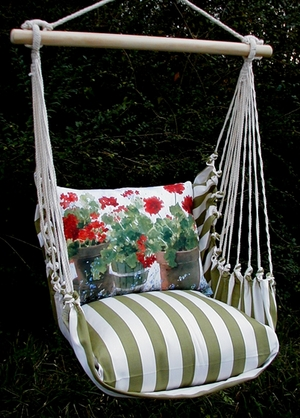 Summer Palms Red Geranium Hammock Chair Swing Set - Click to enlarge