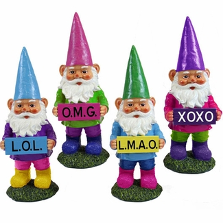 Texting Gnomes (Set of 4) - Click to enlarge