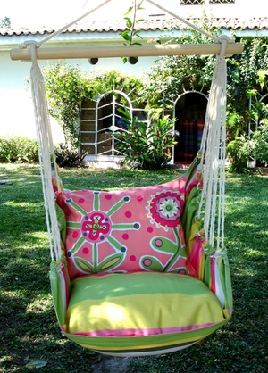 Fresh Lime Wild Flower Hammock Chair Swing Set - Click to enlarge