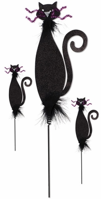 Black Cat Pumpkin Decoration (Set of 3) - Click to enlarge