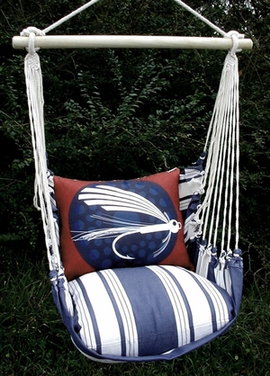 Marina Stripe Fish Lure Hammock Chair Swing Set - Click to enlarge