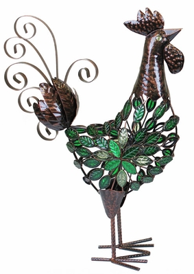 Large Green Mosaic Rooster Decor - Click to enlarge