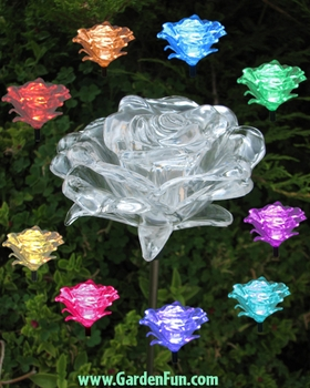 Solar Roses w/Color Changing LEDs (2-pack) - Click to enlarge