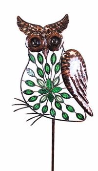 Large Green Filigree Owl Stakes w/Leaves - Click to enlarge