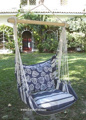 Marina Stripe Clamshell Hammock Chair Swing Set - Click to enlarge