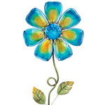 Blue Glass Flower Stake