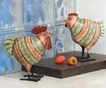 Striped Rooster & Hen (Set of 2)
