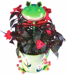 Metal Flower Pot w/Cheery Frog Head