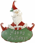 "14.5""  Happy Holidays Santa Sign"