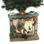 "25"" Fiber Optic Christmas Tree - Santa in Fireplace"