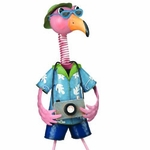 Metal Flamingo Man Garden Decor