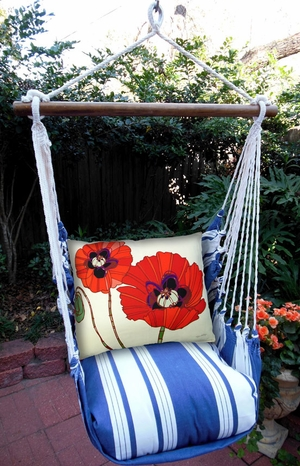 Marina Stripe Poppies Hammock Chair Swing Set - Click to enlarge