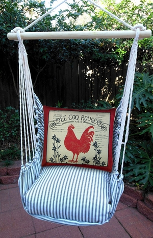 Ticking Black Le Coq Rouge Hammock Chair Swing Set - Click to enlarge