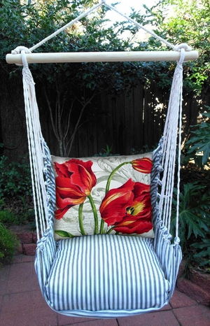 Ticking Black Tulips Hammock Chair Swing Set - Click to enlarge