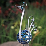 "37"" Pewter Filigree Bird w/Mosaic Tile"