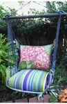 Folsom Stripe Hydrangea Pink Hammock Chair Swing Set