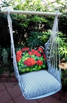 Ticking Black Red Geranium Hammock Chair Swing Set