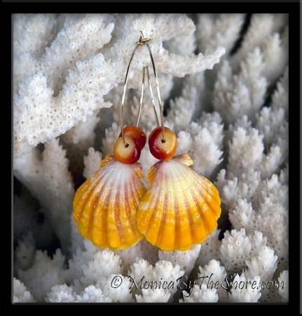 Extra Large Hawaiian Sunrise Shells & Red & Yellow Soapstone Gold Hoop Earrings