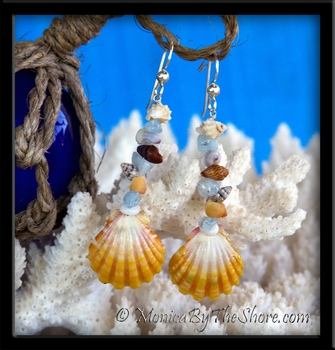 """Beach Candy"" Hawaiian Sunrise Shell Earrings with Aquamarine Gem Stones"