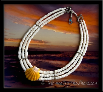 Hawaiian Sunrise Shell & Triple Strand Puka Shells Necklace