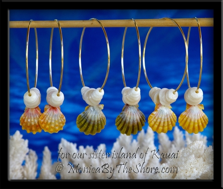 "Custom for a ""Secret Santa"" on Kauai ~ 3 pairs Sunrise Shell & Puka Shells Gold Hoops Earrings"