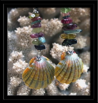 Green Sunrise Shell & Tourmaline Earrings