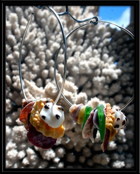 Ke Iki Beach Sunrise Seashells & Sea Glass Hoop Earrings
