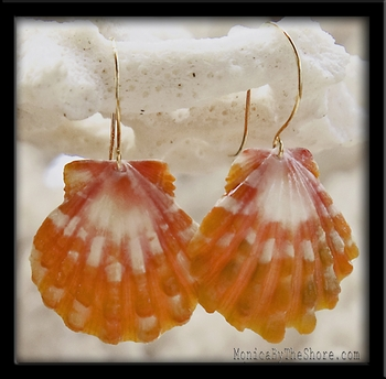 Papaya & White Gold Hawaiian Sunrise Shell Earrings