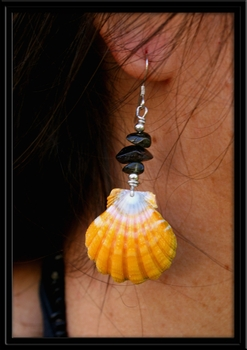 Yellow Sunrise Shell & Black Tourmaline Earrings