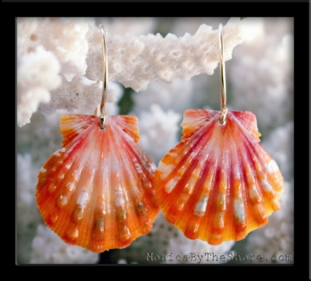 Bright Pink & Orange Sunrise Shell Gold Earrings