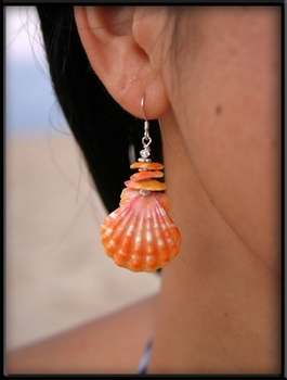 Pink Sunrise Shell & Chips Earrings
