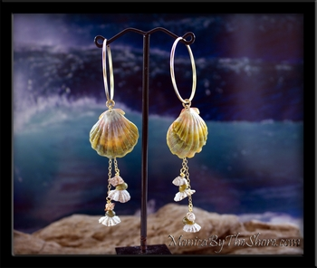 Custom for Janet Hawaiian Green Sunrise Shells & Beach Seashells Gold Hoop Earrings