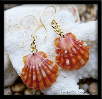 Bright Orange Sunrise Shells & Gold Chain Earrings