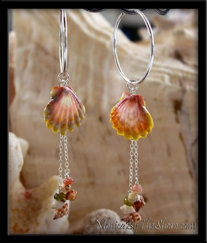 Custom for Kim Multi Color Hawaiian Sunrise Shell & Seashells Silver Hoops Earrings