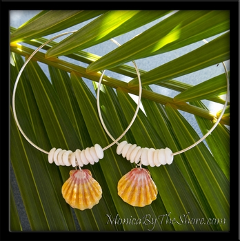 Big Silver Hoop Sunrise Shell Earrings 3""