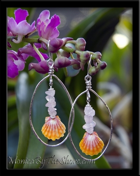 Pink Hawaiian Sunrise Shells Rose Quartz & Hammered Silver Hoop Earrings