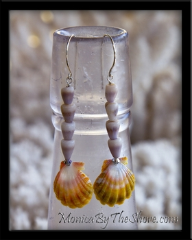 Custom Hawaiian Sunrise Shells & Purple Cone Shell Earrings
