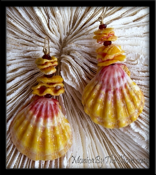Pure Hawaiian Sunrise Shells and Chips with Garnet Earrings